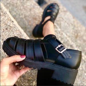 Shoes - Grunge BLACK Caged VEGAN GLADIATOR CHUNKY SANDAL